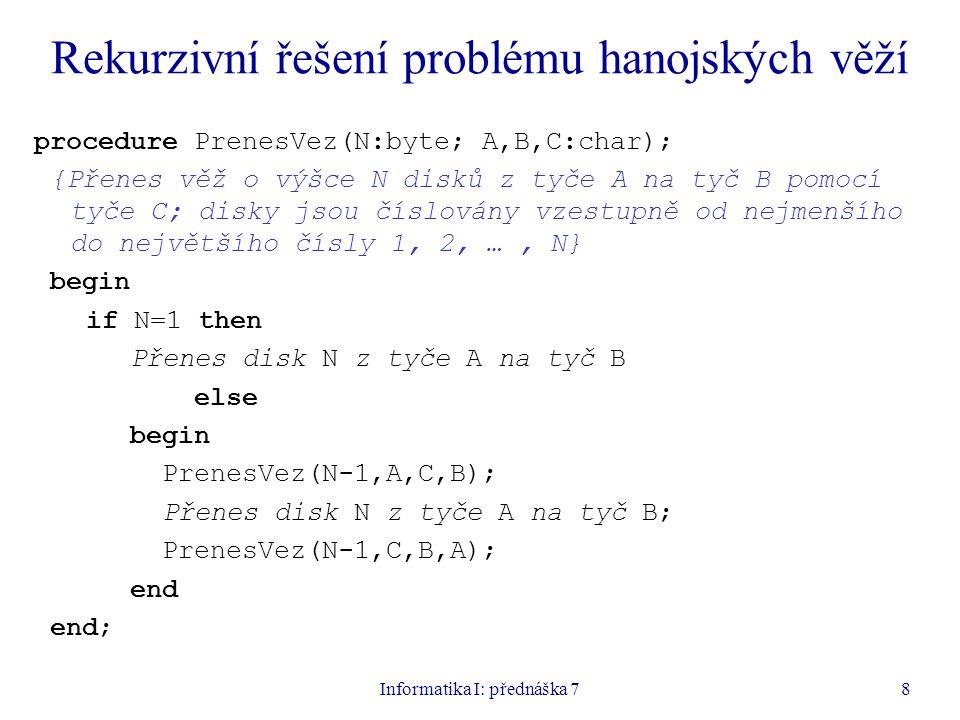 Informatika I: přednáška 78 Rekurzivní řešení problému hanojských věží procedure PrenesVez(N:byte; A,B,C:char); {Přenes věž o výšce N disků z tyče A na tyč B pomocí tyče C; disky jsou číslovány vzestupně od nejmenšího do největšího čísly 1, 2, …, N} begin if N=1 then Přenes disk N z tyče A na tyč B else begin PrenesVez(N-1,A,C,B); Přenes disk N z tyče A na tyč B; PrenesVez(N-1,C,B,A); end end;