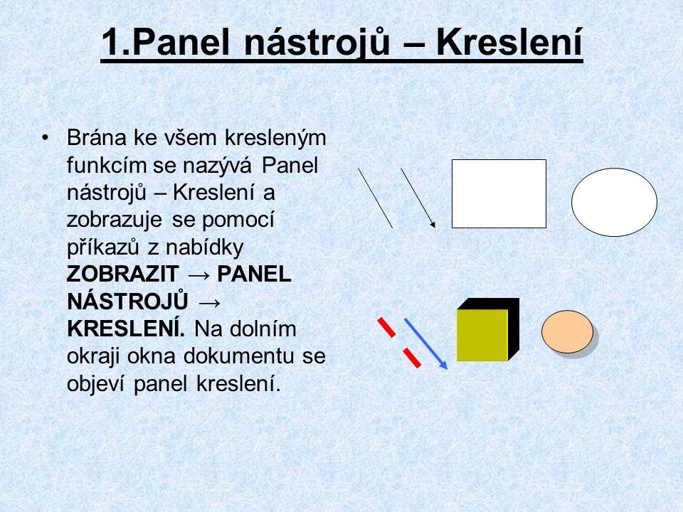 1.Panel nástrojů – Kreslení Brána ke všem kresleným funkcím se nazývá Panel nástrojů – Kreslení a zobrazuje se pomocí příkazů z nabídky ZOBRAZIT → PANEL NÁSTROJŮ → KRESLENÍ.