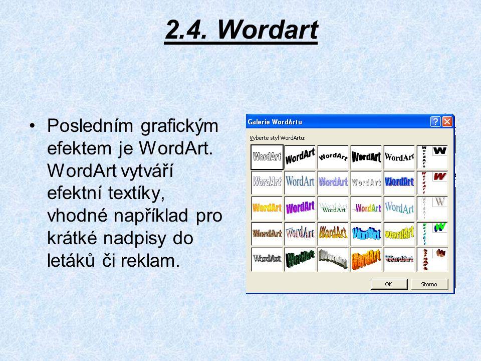 2.4.Wordart Posledním grafickým efektem je WordArt.