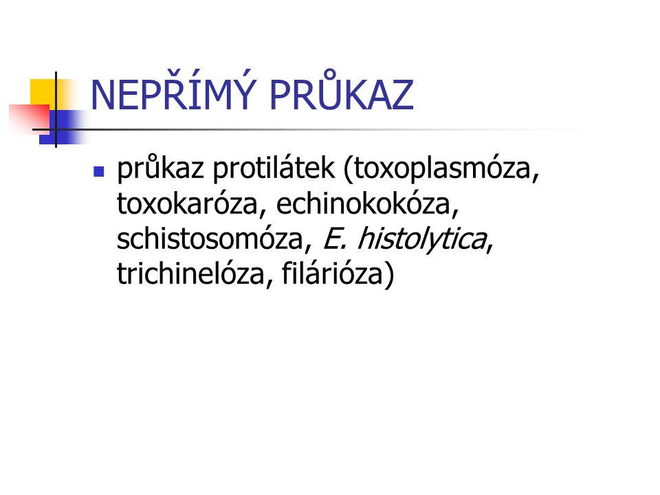 NEPŘÍMÝ PRŮKAZ průkaz protilátek (toxoplasmóza, toxokaróza, echinokokóza, schistosomóza, E.