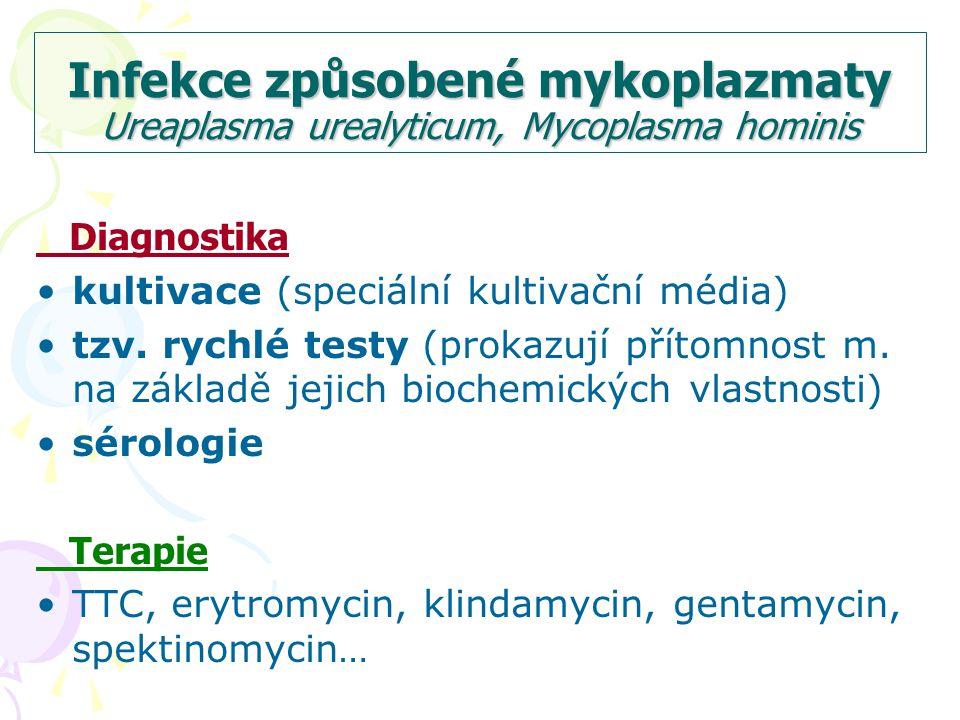 Infekce způsobené mykoplazmaty Ureaplasma urealyticum, Mycoplasma hominis Diagnostika kultivace (speciální kultivační média) tzv.
