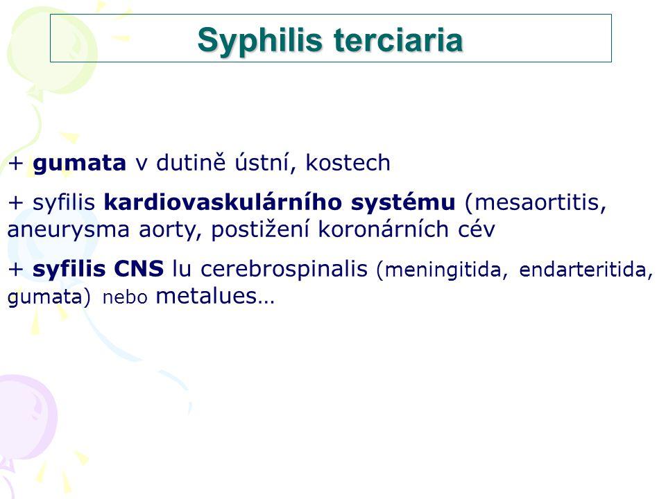 Syphilis terciaria + gumata v dutině ústní, kostech + syfilis kardiovaskulárního systému (mesaortitis, aneurysma aorty, postižení koronárních cév + syfilis CNS lu cerebrospinalis (meningitida, endarteritida, gumata) nebo metalues…