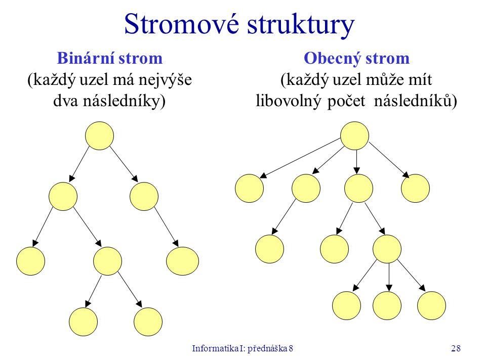 Informatika I: přednáška 828 Stromové struktury Binární strom (každý uzel má nejvýše dva následníky) Obecný strom (každý uzel může mít libovolný počet následníků)