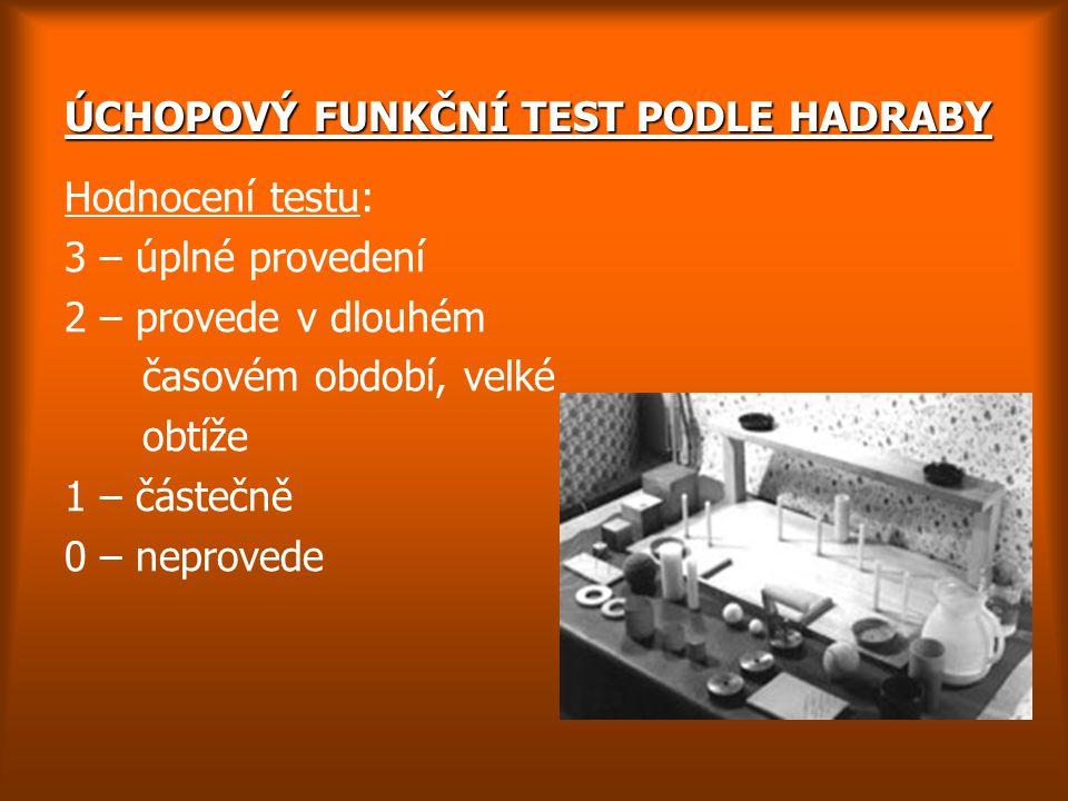 ÚCHOPOVÝ FUNKČNÍ TEST PODLE HADRABY Hodnocení testu: 3 – úplné provedení 2 – provede v dlouhém časovém období, velké obtíže 1 – částečně 0 – neprovede