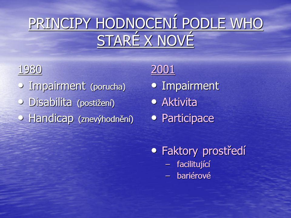 PRINCIPY HODNOCENÍ PODLE WHO STARÉ X NOVÉ 1980 Impairment (porucha) Impairment (porucha) Disabilita (postižení) Disabilita (postižení) Handicap (znevý
