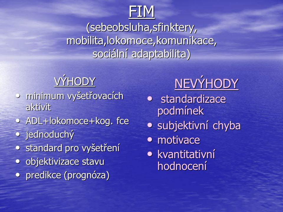 FIM (sebeobsluha,sfinktery, mobilita,lokomoce,komunikace, sociální adaptabilita) VÝHODY minimum vyšetřovacích aktivit minimum vyšetřovacích aktivit AD