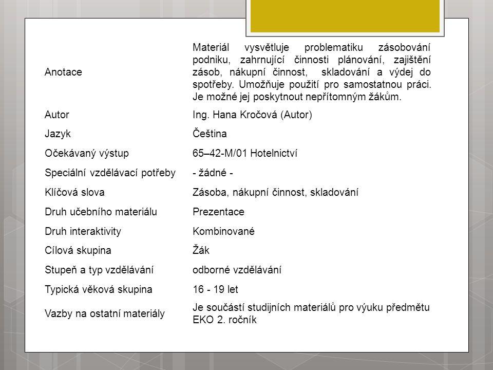 Anotace Materiál vysvětluje problematiku zásobování podniku, zahrnující činnosti plánování, zajištění zásob, nákupní činnost, skladování a výdej do sp