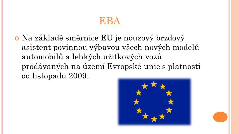 EBA Na základě směrnice EU je nouzový brzdový asistent povinnou výbavou všech nových modelů automobilů a lehkých užitkových vozů prodávaných na území