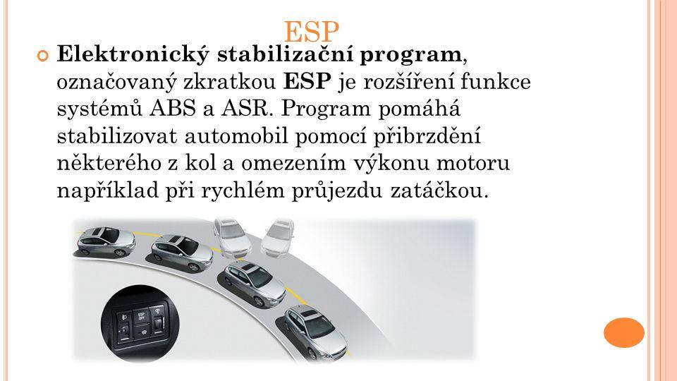 ESP Elektronický stabilizační program, označovaný zkratkou ESP je rozšíření funkce systémů ABS a ASR. Program pomáhá stabilizovat automobil pomocí při