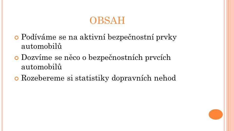 OBSAH Podíváme se na aktivní bezpečnostní prvky automobilů Dozvíme se něco o bezpečnostních prvcích automobilů Rozebereme si statistiky dopravních neh