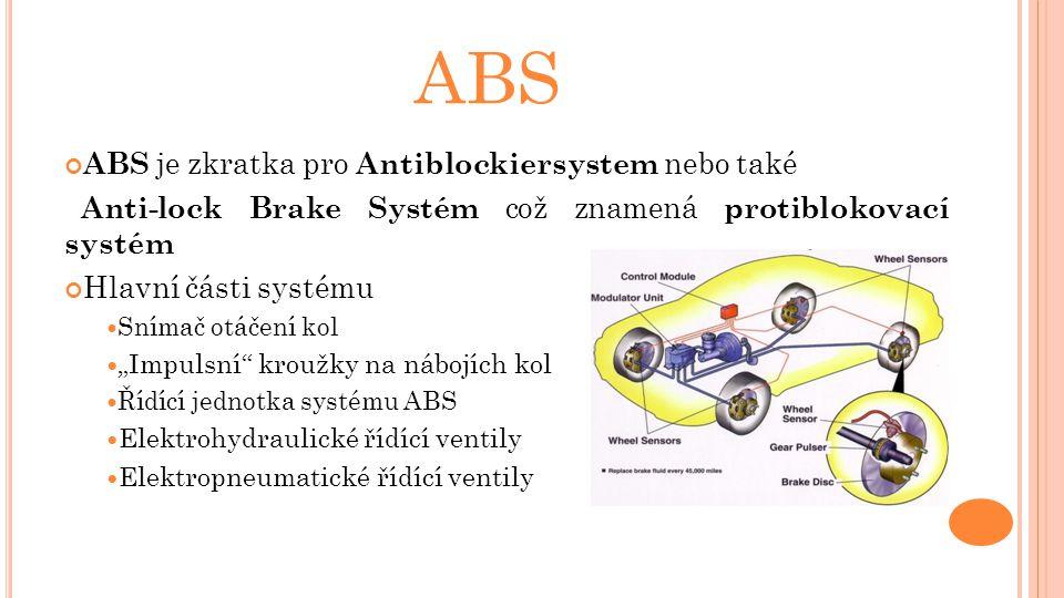 """ABS ABS je zkratka pro Antiblockiersystem nebo také Anti-lock Brake Systém což znamená protiblokovací systém Hlavní části systému Snímač otáčení kol """""""