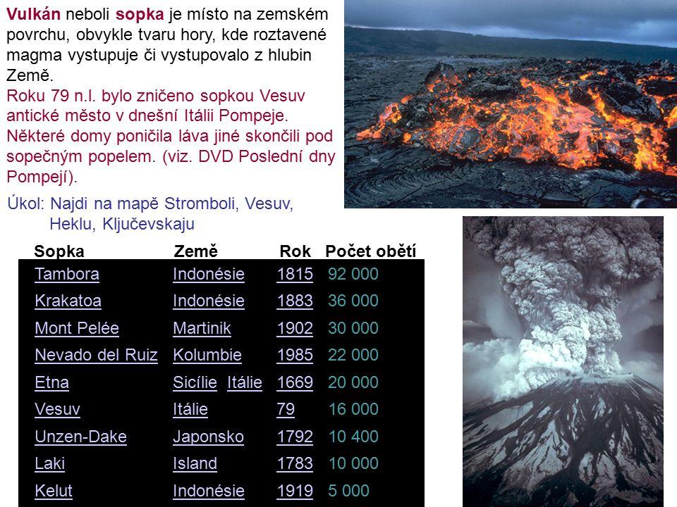5 0001919IndonésieKelut 10 0001783IslandLaki 10 4001792JaponskoUnzen-Dake 16 00079ItálieVesuv 20 0001669SicílieSicílie, ItálieItálieEtna 22 0001985KolumbieNevado del Ruiz 30 0001902MartinikMont Pelée 36 0001883IndonésieKrakatoa 92 0001815IndonésieTambora Sopka Země Rok Počet obětí Vulkán neboli sopka je místo na zemském povrchu, obvykle tvaru hory, kde roztavené magma vystupuje či vystupovalo z hlubin Země.