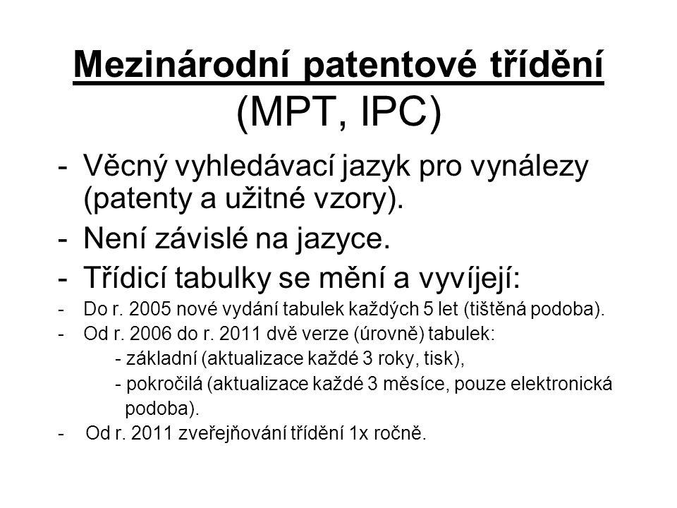 Mezinárodní patentové třídění (MPT, IPC) -Věcný vyhledávací jazyk pro vynálezy (patenty a užitné vzory).