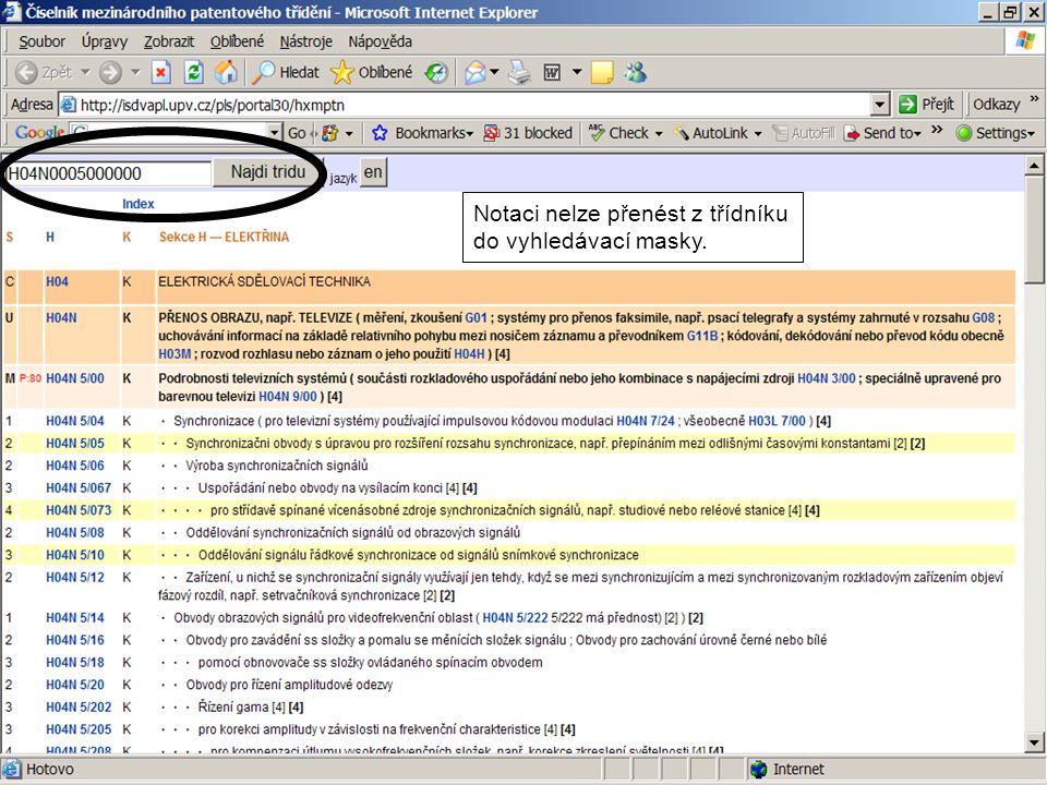 Notaci nelze přenést z třídníku do vyhledávací masky.