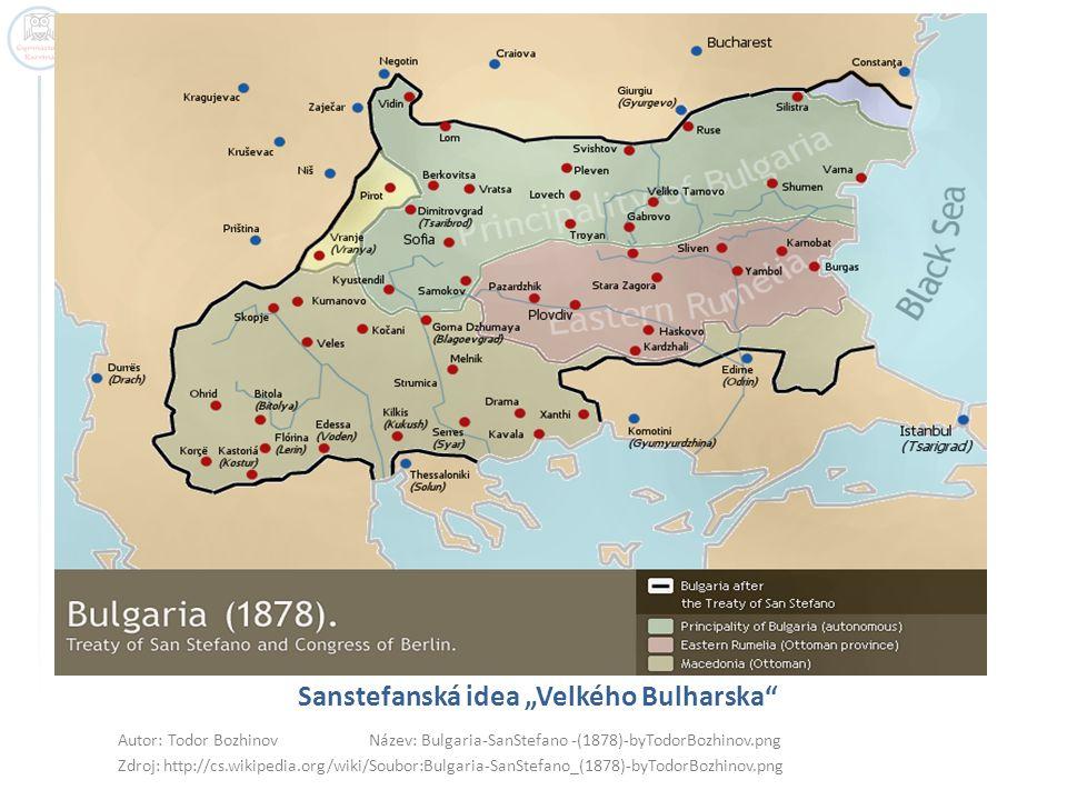 "Sanstefanská idea ""Velkého Bulharska Autor: Todor Bozhinov Název: Bulgaria-SanStefano -(1878)-byTodorBozhinov.png Zdroj: http://cs.wikipedia.org/wiki/Soubor:Bulgaria-SanStefano_(1878)-byTodorBozhinov.png"