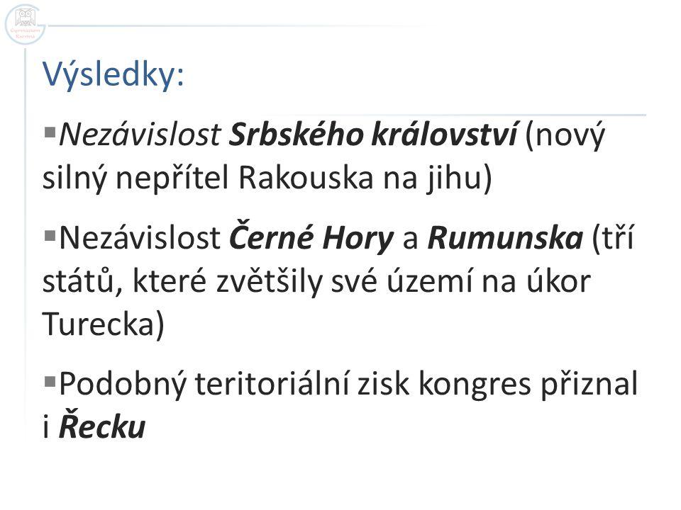 Výsledky:  Nezávislost Srbského království (nový silný nepřítel Rakouska na jihu)  Nezávislost Černé Hory a Rumunska (tří států, které zvětšily své území na úkor Turecka)  Podobný teritoriální zisk kongres přiznal i Řecku
