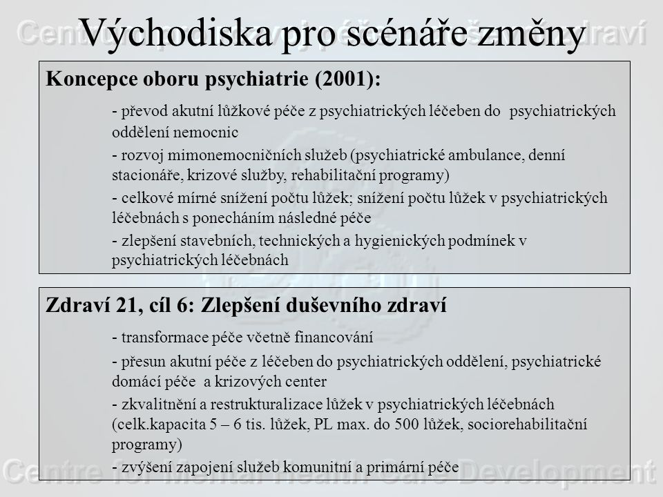 Východiska pro scénáře změny Koncepce oboru psychiatrie (2001): - převod akutní lůžkové péče z psychiatrických léčeben do psychiatrických oddělení nemocnic - rozvoj mimonemocničních služeb (psychiatrické ambulance, denní stacionáře, krizové služby, rehabilitační programy) - celkové mírné snížení počtu lůžek; snížení počtu lůžek v psychiatrických léčebnách s ponecháním následné péče - zlepšení stavebních, technických a hygienických podmínek v psychiatrických léčebnách Zdraví 21, cíl 6: Zlepšení duševního zdraví - transformace péče včetně financování - přesun akutní péče z léčeben do psychiatrických oddělení, psychiatrické domácí péče a krizových center - zkvalitnění a restrukturalizace lůžek v psychiatrických léčebnách (celk.kapacita 5 – 6 tis.