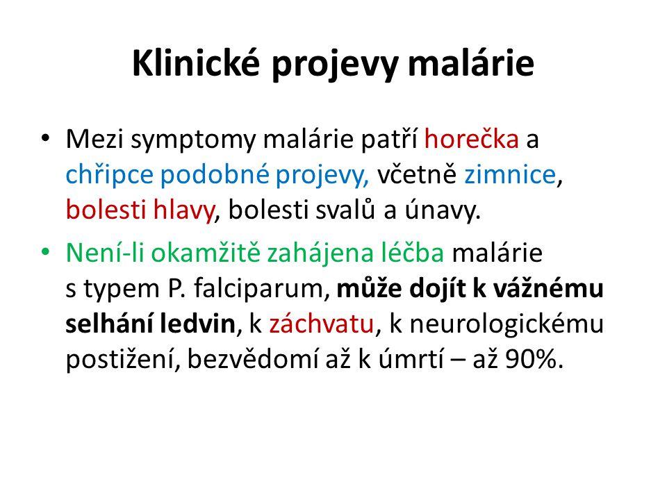 Klinické projevy malárie Mezi symptomy malárie patří horečka a chřipce podobné projevy, včetně zimnice, bolesti hlavy, bolesti svalů a únavy. Není-li