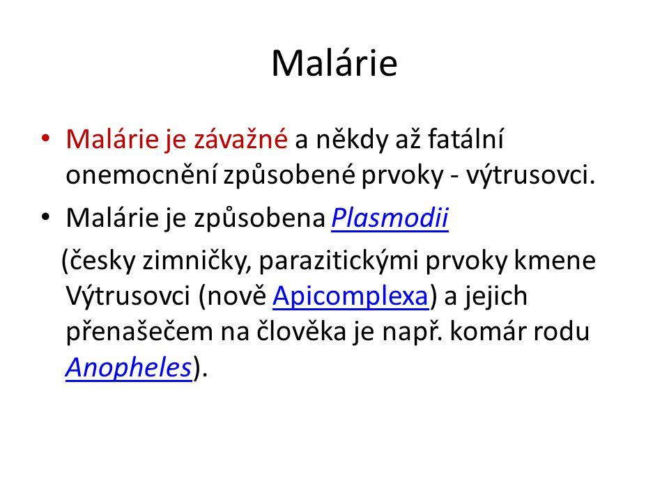 Malárie Malárie je závažné a někdy až fatální onemocnění způsobené prvoky - výtrusovci. Malárie je způsobena PlasmodiiPlasmodii (česky zimničky, paraz