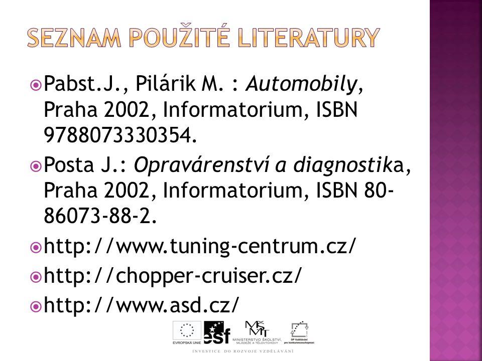  Pabst.J., Pilárik M.: Automobily, Praha 2002, Informatorium, ISBN 9788073330354.