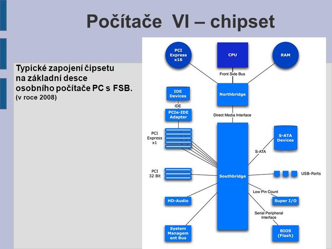 Počítače VI – chipset Typické zapojení čipsetu na základní desce osobního počítače PC s FSB. (v roce 2008)