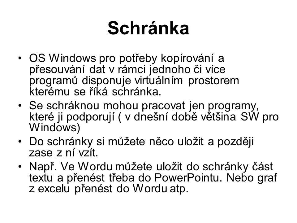 Schránka OS Windows pro potřeby kopírování a přesouvání dat v rámci jednoho či více programů disponuje virtuálním prostorem kterému se říká schránka.