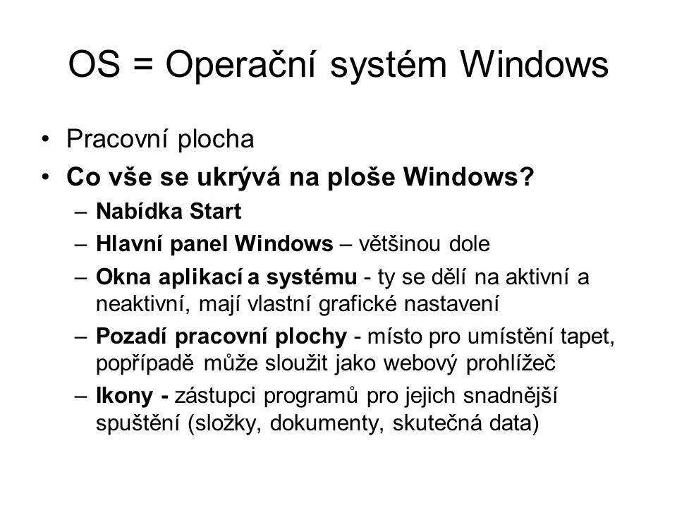 OS = Operační systém Windows Pracovní plocha Co vše se ukrývá na ploše Windows? –Nabídka Start –Hlavní panel Windows – většinou dole –Okna aplikací a
