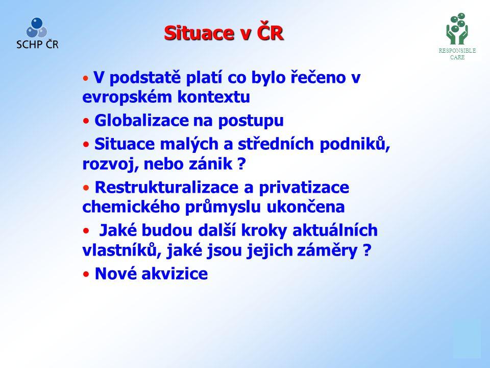 1 11 Situace v ČR RESPONSIBLE CARE V podstatě platí co bylo řečeno v evropském kontextu Globalizace na postupu Situace malých a středních podniků, rozvoj, nebo zánik .