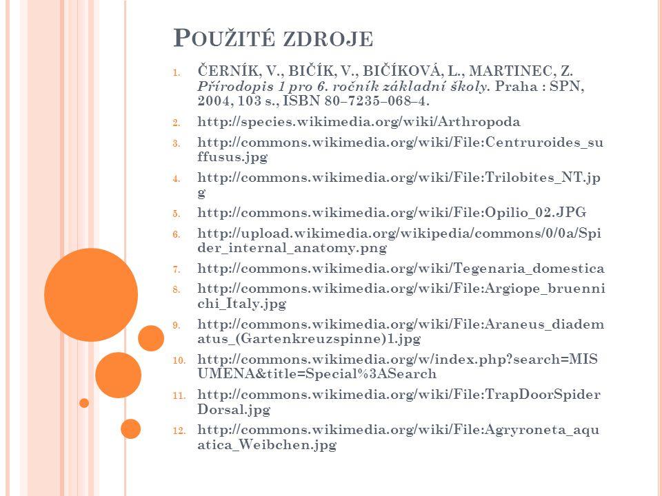P OUŽITÉ ZDROJE 1. ČERNÍK, V., BIČÍK, V., BIČÍKOVÁ, L., MARTINEC, Z. Přírodopis 1 pro 6. ročník základní školy. Praha : SPN, 2004, 103 s., ISBN 80–723