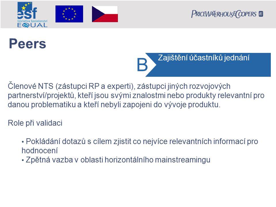 Členové NTS (zástupci RP a experti), zástupci jiných rozvojových partnerství/projektů, kteří jsou svými znalostmi nebo produkty relevantní pro danou problematiku a kteří nebyli zapojeni do vývoje produktu.