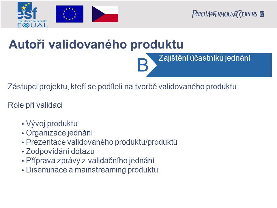 Zástupci projektu, kteří se podíleli na tvorbě validovaného produktu. Role při validaci Vývoj produktu Organizace jednání Prezentace validovaného prod