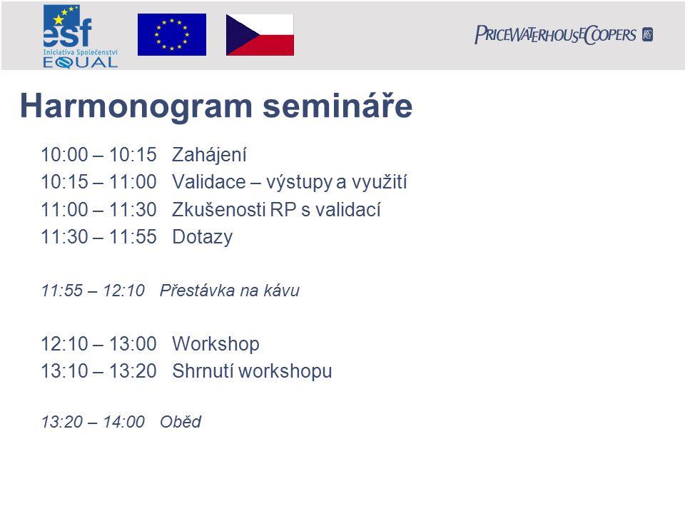 Harmonogram semináře 10:00 – 10:15 Zahájení 10:15 – 11:00 Validace – výstupy a využití 11:00 – 11:30 Zkušenosti RP s validací 11:30 – 11:55 Dotazy 11:55 – 12:10 Přestávka na kávu 12:10 – 13:00 Workshop 13:10 – 13:20 Shrnutí workshopu 13:20 – 14:00 Oběd