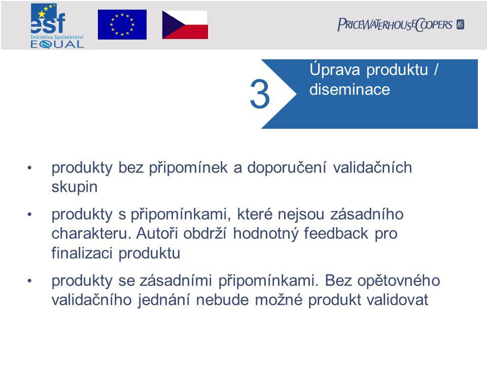 3 produkty bez připomínek a doporučení validačních skupin produkty s připomínkami, které nejsou zásadního charakteru.