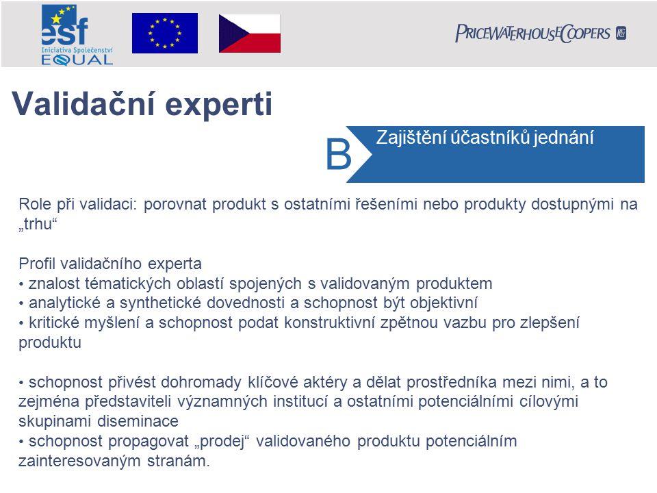 """Role při validaci: porovnat produkt s ostatními řešeními nebo produkty dostupnými na """"trhu"""" Profil validačního experta znalost tématických oblastí spo"""