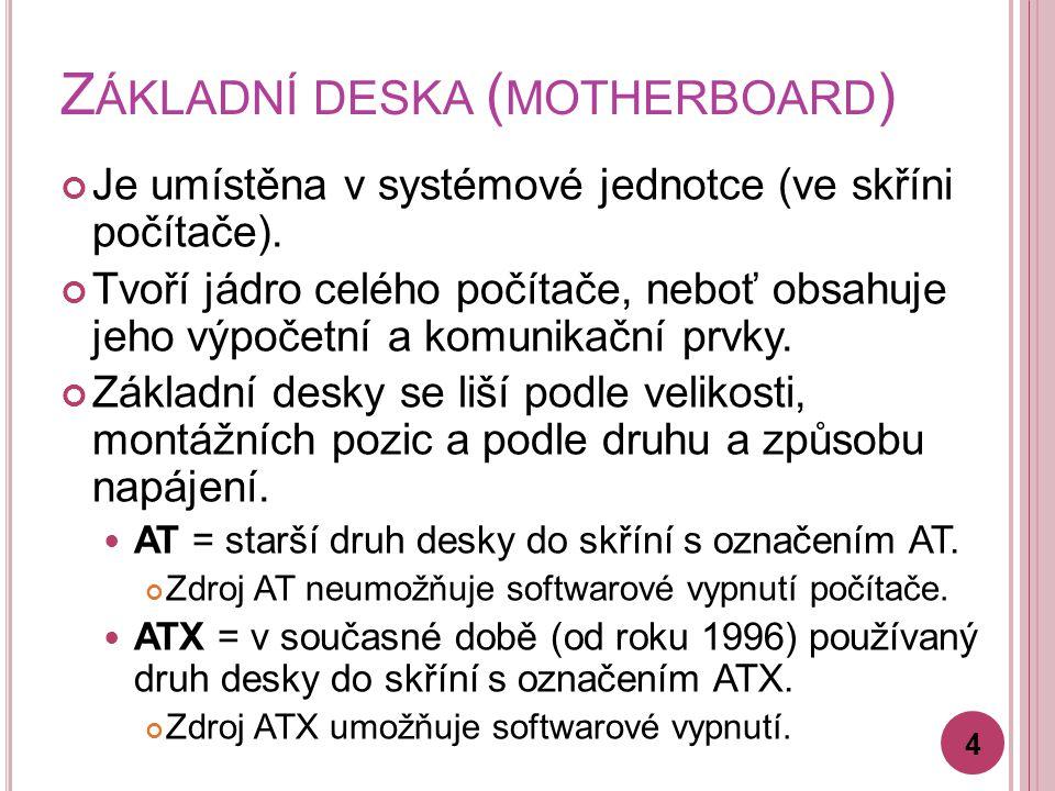 Č ÁSTI NA ZÁKLADNÍ DESCE Čipová sada Sada elektronických součástek, které řídí přenos dat mezi jednotlivými díly PC.