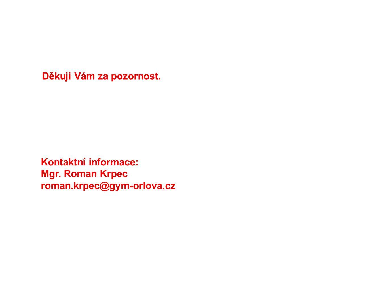 Kontaktní informace: Mgr. Roman Krpec roman.krpec@gym-orlova.cz Děkuji Vám za pozornost.