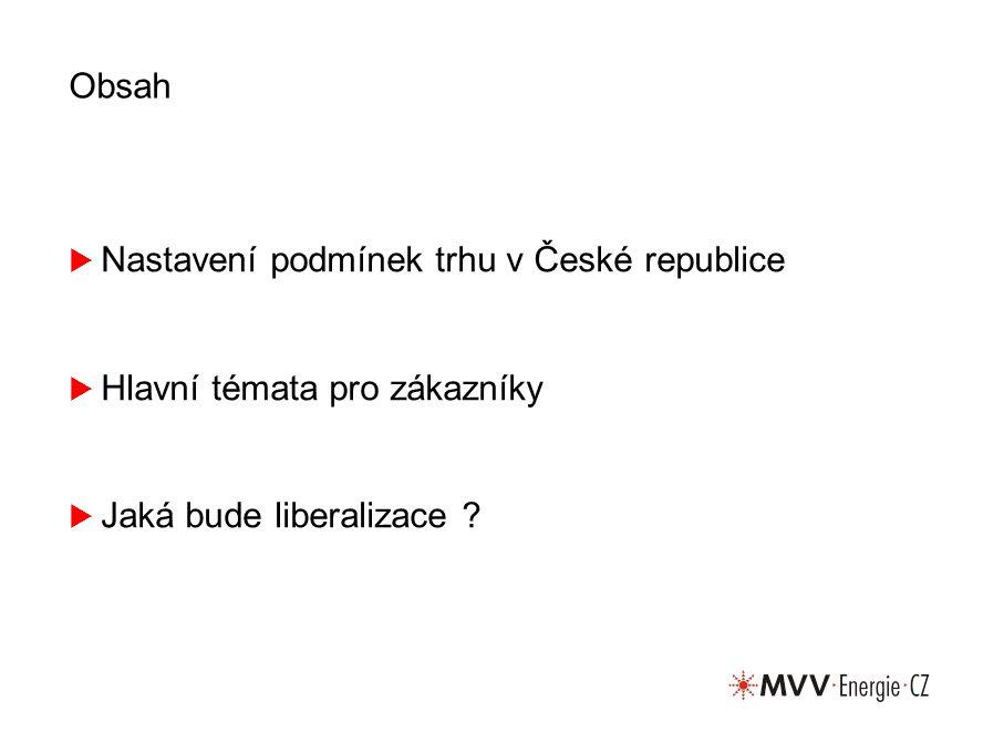 Obsah  Nastavení podmínek trhu v České republice  Hlavní témata pro zákazníky  Jaká bude liberalizace ?