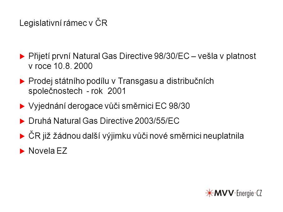 Legislativní rámec v ČR  Přijetí první Natural Gas Directive 98/30/EC – vešla v platnost v roce 10.8. 2000  Prodej státního podílu v Transgasu a dis