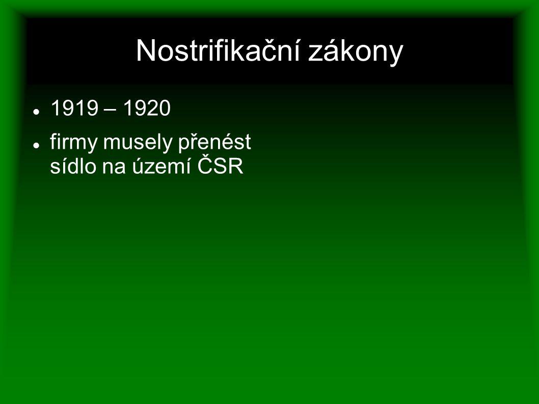 Nostrifikační zákony 1919 – 1920 firmy musely přenést sídlo na území ČSR