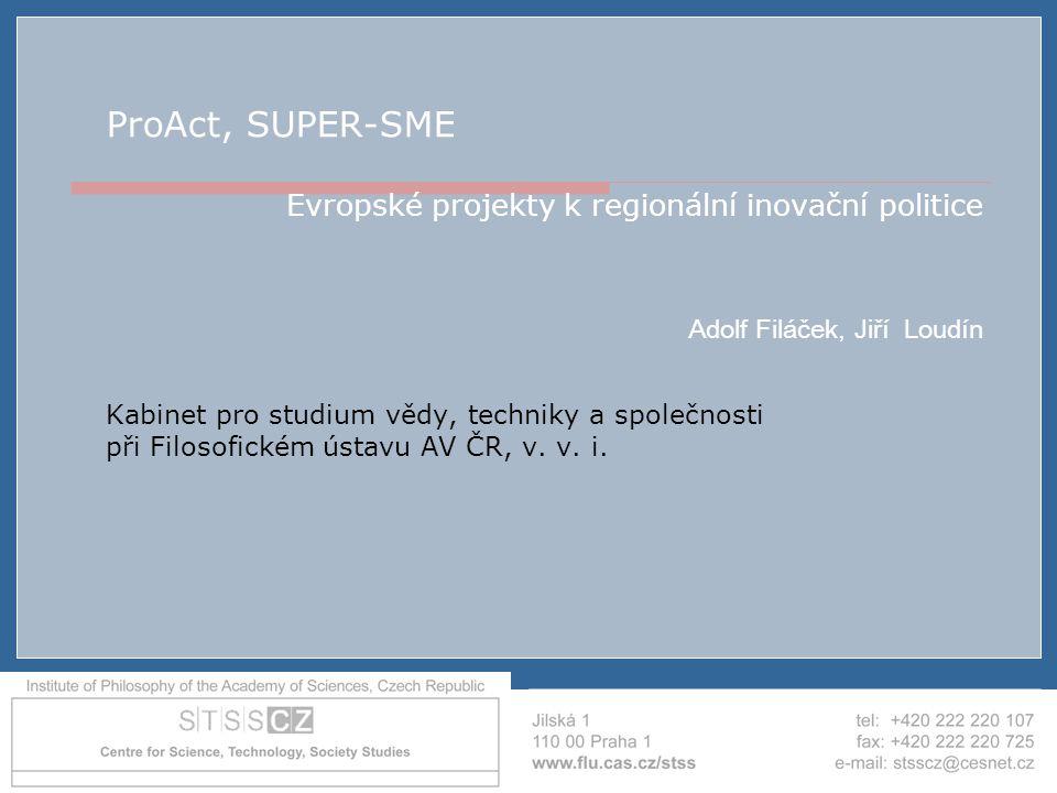 AIP ČR - Brno - 19.4.2007 ProAct, SUPER-SME Evropské projekty k regionální inovační politice Adolf Filáček, Jiří Loudín Kabinet pro studium vědy, tech