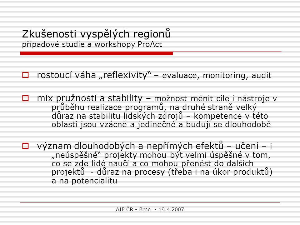 """AIP ČR - Brno - 19.4.2007 Zkušenosti vyspělých regionů případové studie a workshopy ProAct  rostoucí váha """"reflexivity"""" – evaluace, monitoring, audit"""