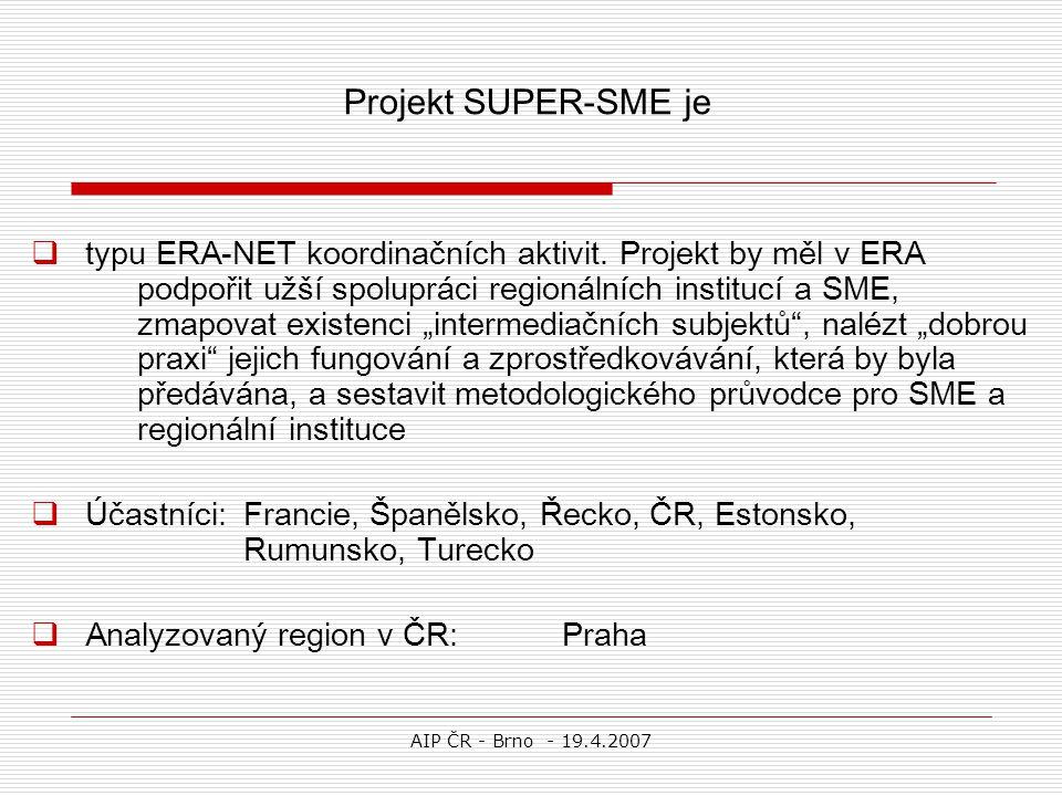 AIP ČR - Brno - 19.4.2007  typu ERA-NET koordinačních aktivit. Projekt by měl v ERA podpořit užší spolupráci regionálních institucí a SME, zmapovat e