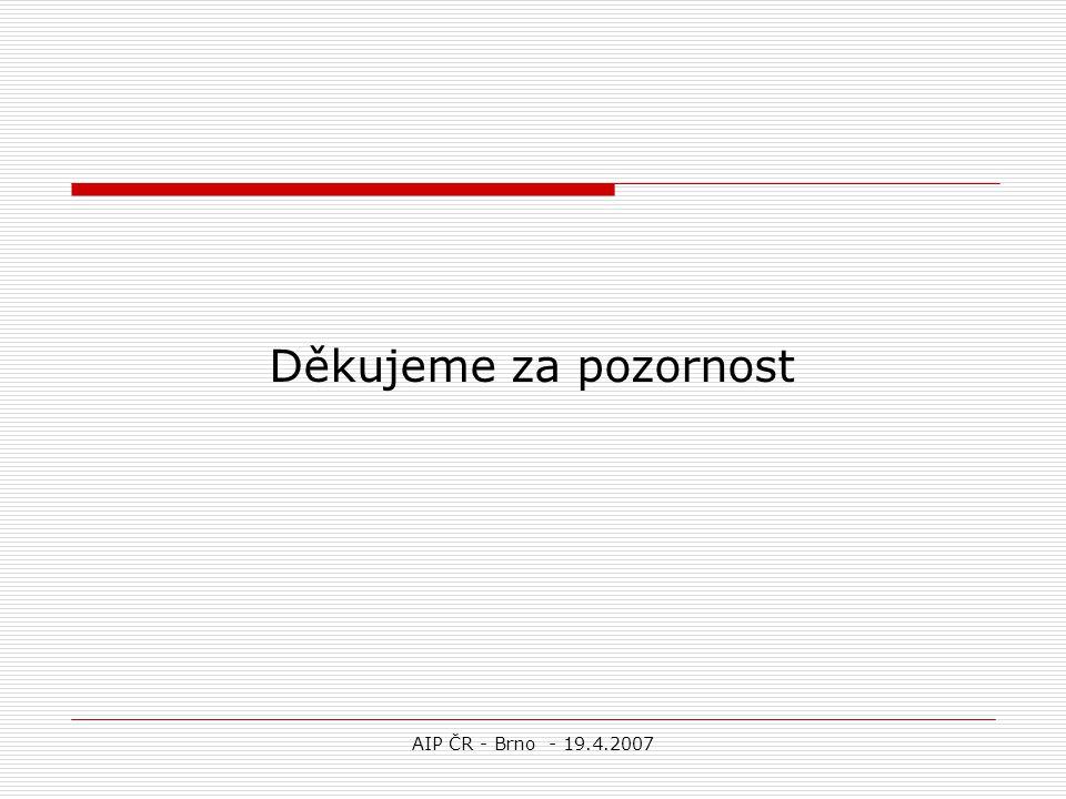 AIP ČR - Brno - 19.4.2007 Děkujeme za pozornost