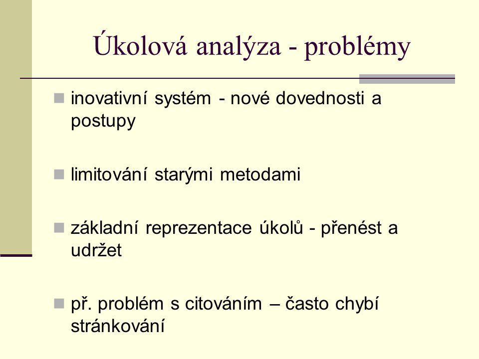 Úkolová analýza - problémy inovativní systém - nové dovednosti a postupy limitování starými metodami základní reprezentace úkolů - přenést a udržet př.