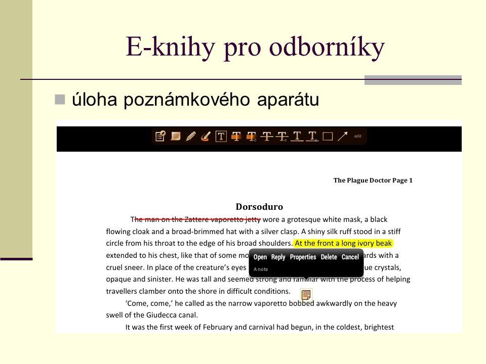 E-knihy pro odborníky úloha poznámkového aparátu