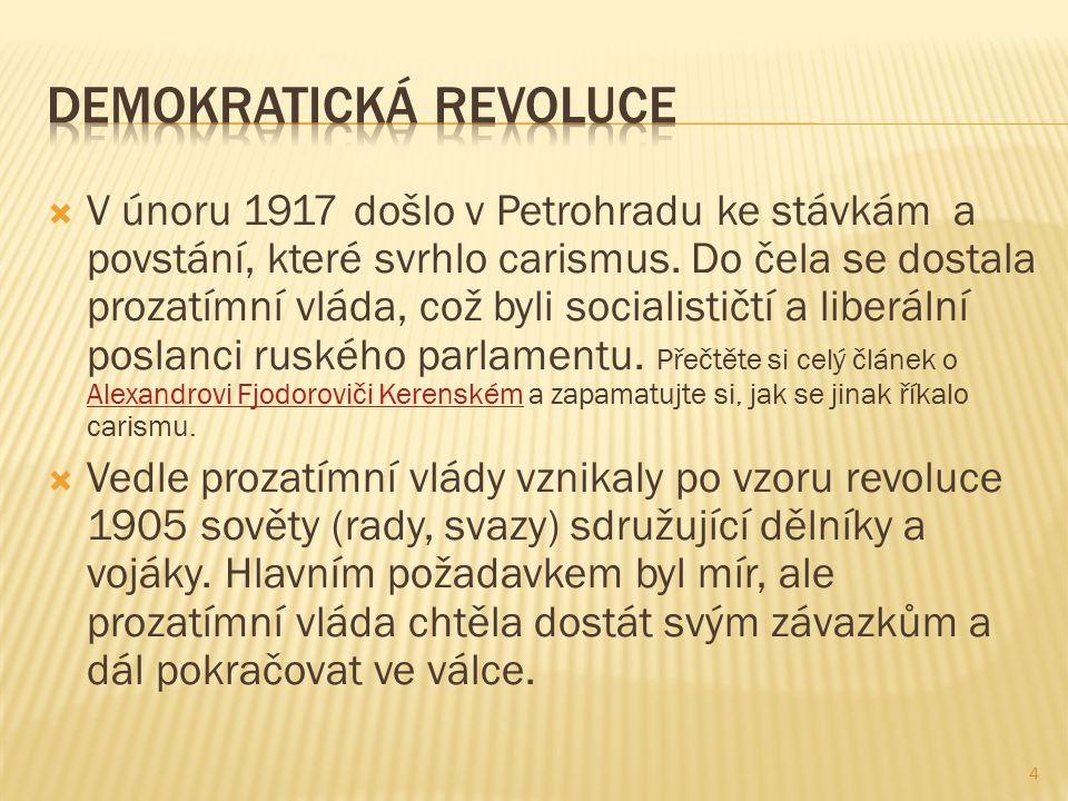  V únoru 1917 došlo v Petrohradu ke stávkám a povstání, které svrhlo carismus.