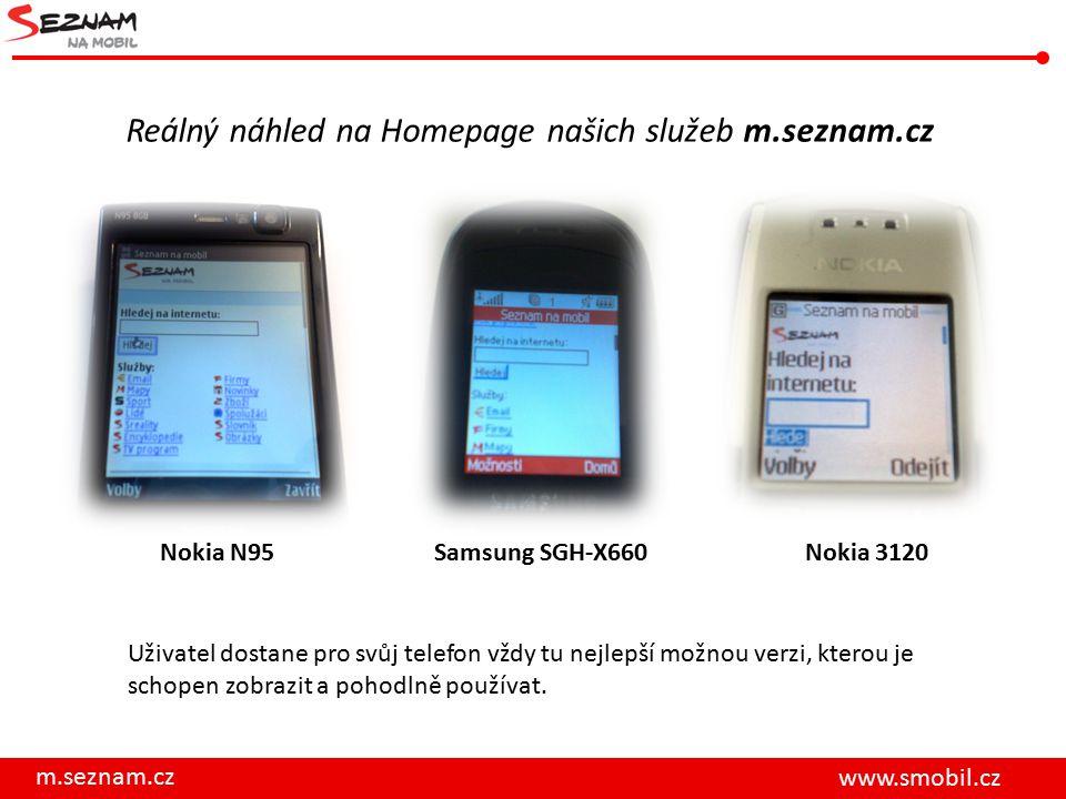 m.seznam.cz www.smobil.cz Reálný náhled na Homepage našich služeb m.seznam.cz Nokia N95Nokia 3120 Uživatel dostane pro svůj telefon vždy tu nejlepší možnou verzi, kterou je schopen zobrazit a pohodlně používat.