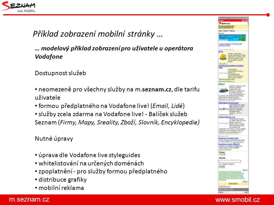m.seznam.cz www.smobil.cz Příklad zobrazení mobilní stránky … … modelový příklad zobrazení pro uživatele u operátora Vodafone Dostupnost služeb neomezeně pro všechny služby na m.seznam.cz, dle tarifu uživatele formou předplatného na Vodafone live.