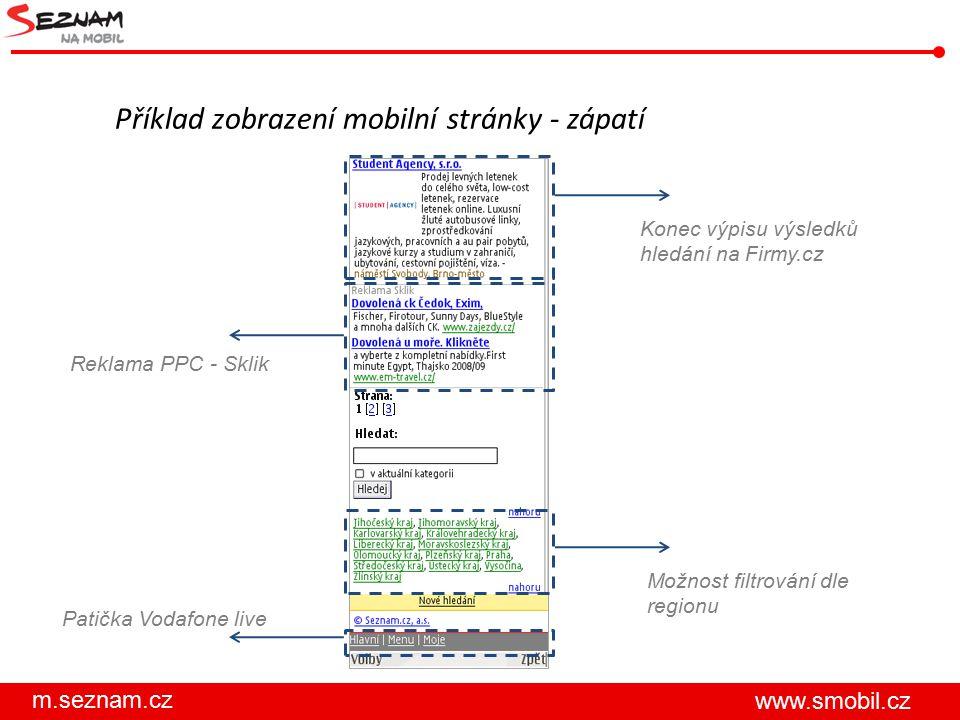 m.seznam.cz www.smobil.cz Příklad zobrazení mobilní stránky - zápatí Konec výpisu výsledků hledání na Firmy.cz Reklama PPC - Sklik Možnost filtrování