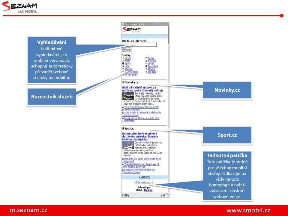 m.seznam.cz www.smobil.cz Rozcestník služeb Vyhledávání Fulltextové vyhledávání je v mobilní verzi navíc schopné automaticky převádět webové stránky na mobilní.